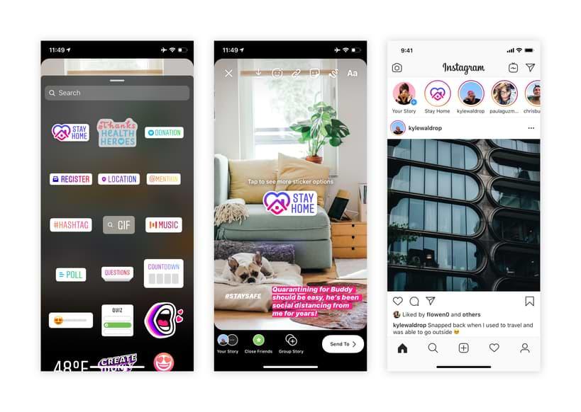 Instagram lanza la etiqueta y la historia de 'Quédate en casa' para alentar el distanciamiento social en medio del brote de COVID-19