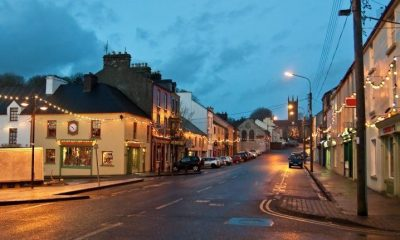 The main street of Ennistimon, Co Clare at night empty of traffic and people.
