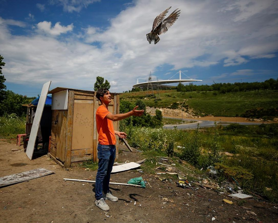A local resident trains a pigeon at an area, near the Ataturk Olympic Stadium, background, in Istanbul, Saturday, May 30, 2020. The UEFA Champions League final soccer match was scheduled to be hosted at Ataturk Olympic Stadium May 30 but is postponed because of the coronavirus pandemic and a new date for the final has yet to be announced amid the ongoing COVID-19 crisis.