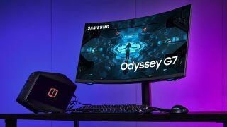 Samsung Odyssey G7 gaming monitor promo shots