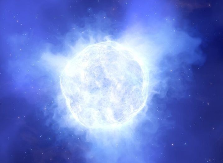 Illustration showing what the luminous blue variable star in the Kinman Dwarf galaxy could have looked like before its mysterious disappearance.