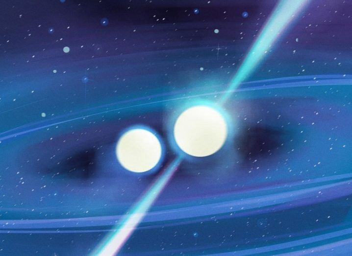 An illustration of the newly discovered pulsar as part of a binary system.