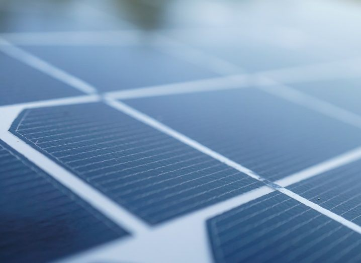 Close up of a solar cell panel.