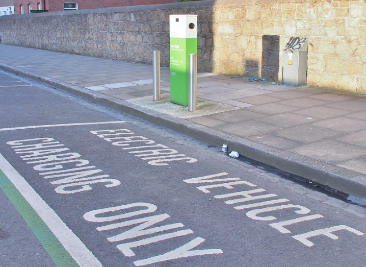 An EV charging space on the side of a road in Ireland.