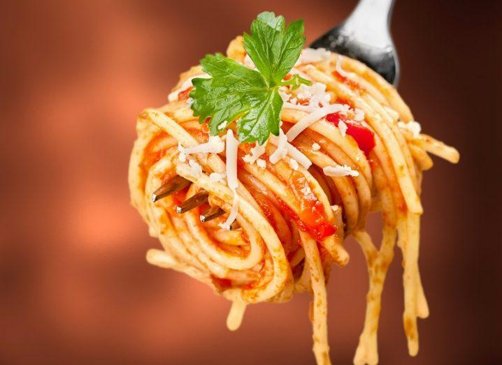 A forkful of spaghetti with a tomato sauce.