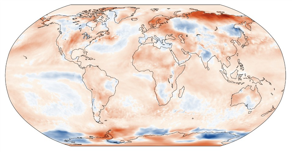 Surface air temperature anomaly for June 2020 relative to the June average for the period 1981–2010.