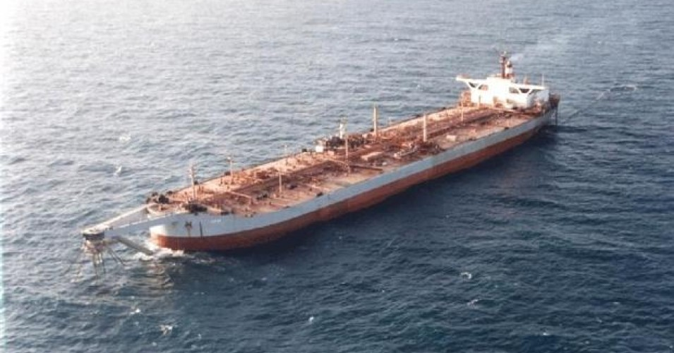 A file photo shows the FSO Safer supertanker permanently anchored off Yemen's Red Sea coast, west of Hodeida.