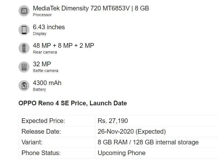 OPPO Reno 4 SE 5G especificaciones