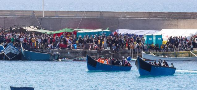 The migrant boats in Canary Islands