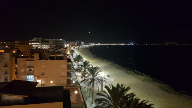 Hotel facades lit up in Playa de Palma to welcome Christmas.