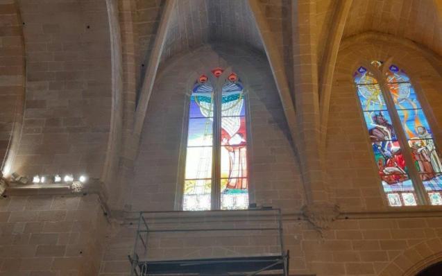 Algaida Church, Mallorca. Stained glass windows honouring Ramon Llull