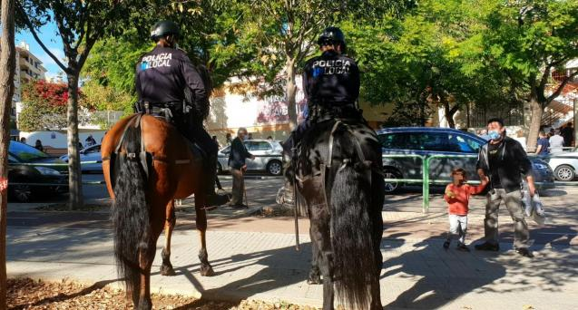 Mounted police on patrol in Palma