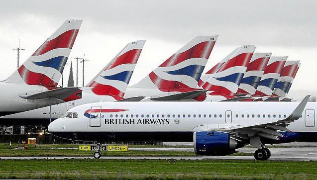 British Airways planes parked at Heathrow Airport