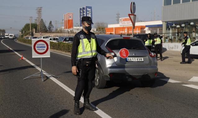 National Police control in Palma, Mallorca
