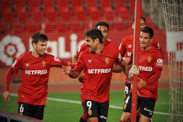 "Real Mallorca's Abdon Prats (no. 9, the ""Arta Assassin"") celebrates his double"
