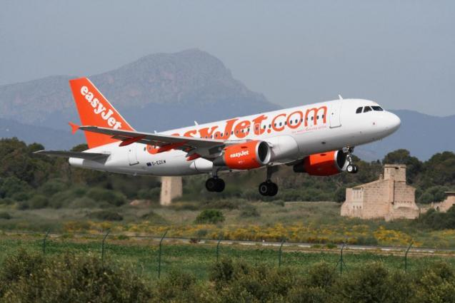 EasyJet plane at Palma Son Sant Joan Airport.
