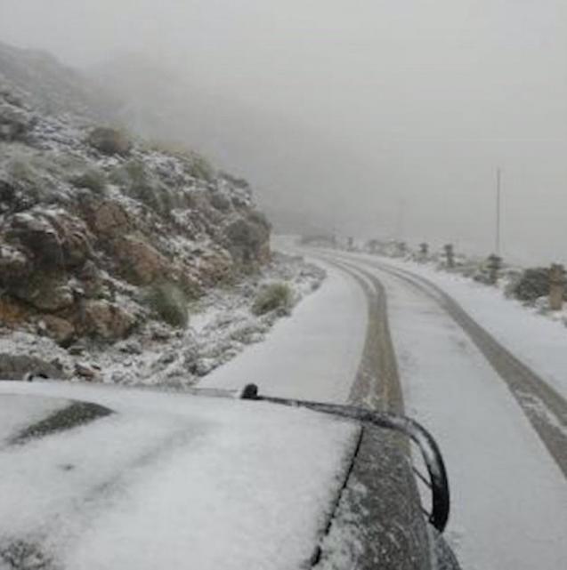 Snow in El Puig Major, Mallorca.