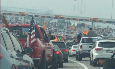 Ver Enorme convoy de vehículos realiza una manifestación en apoyo de los agricultores indios en California