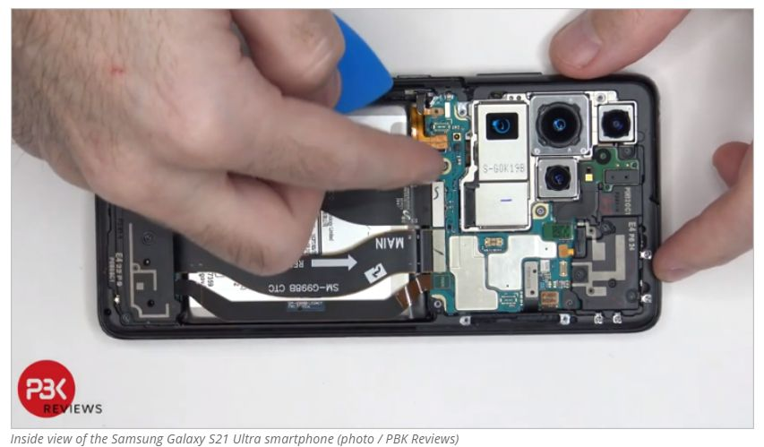 Así es el interior del teléfono inteligente Samsung Galaxy S21 Ultra