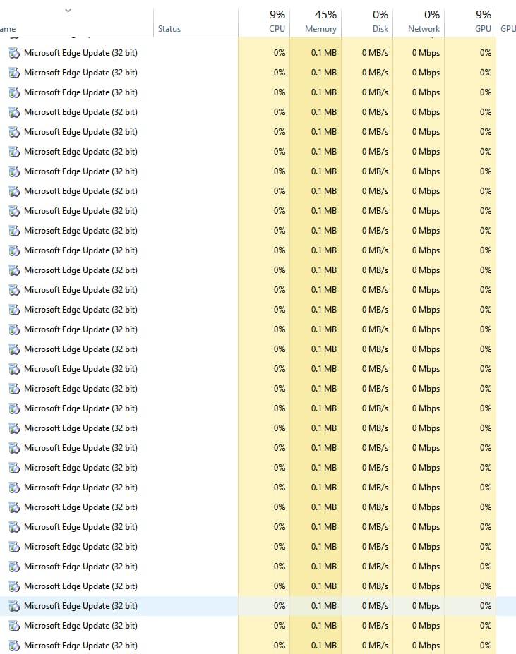 Microsoft soluciona el problema con muchos procesos de Microsoft Edge Update (32 bits) en ejecución