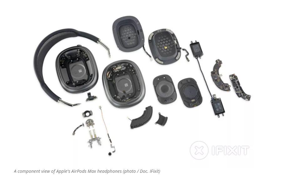Vea los componentes internos de los auriculares AirPods Max de Apple