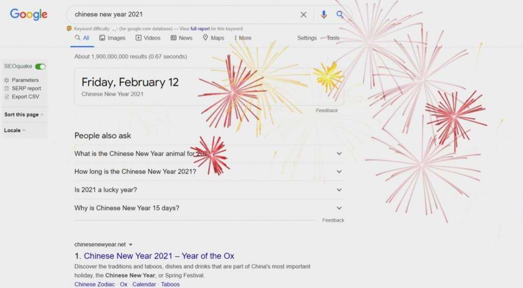 Google mostrará fuegos artificiales en todas las búsquedas sobre el año nuevo chino 2021