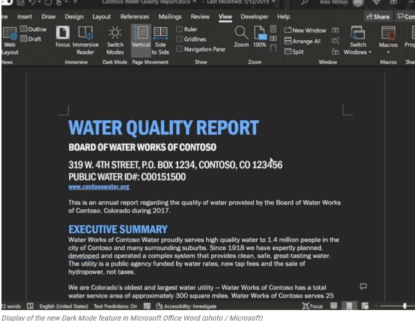 Microsoft actualiza la función de modo oscuro en la aplicación de Word, puede ennegrecer el contenido de los documentos