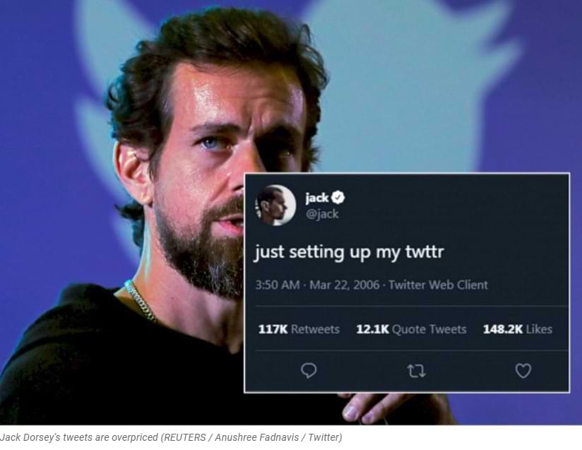 ¡Increíble! El primer tweet del CEO de Twitter, Jack Dorsey, recibió una oferta de 2,5 millones de dólares.