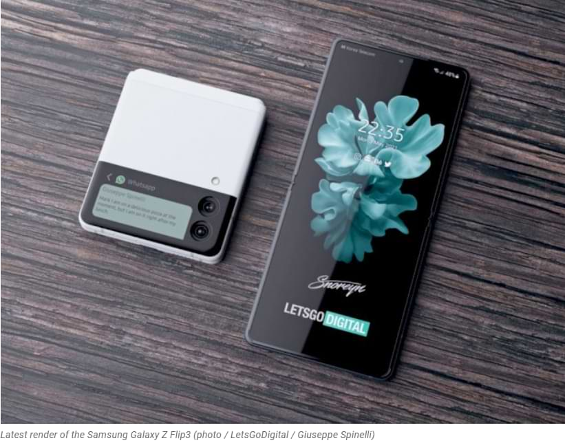 Como esta representación de la pantalla del Samsung Galaxy Z Flip3 de fugas circulantes