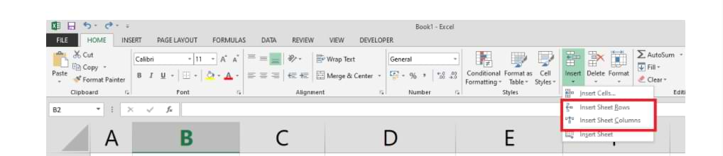 Cómo agregar columnas y filas en Excel