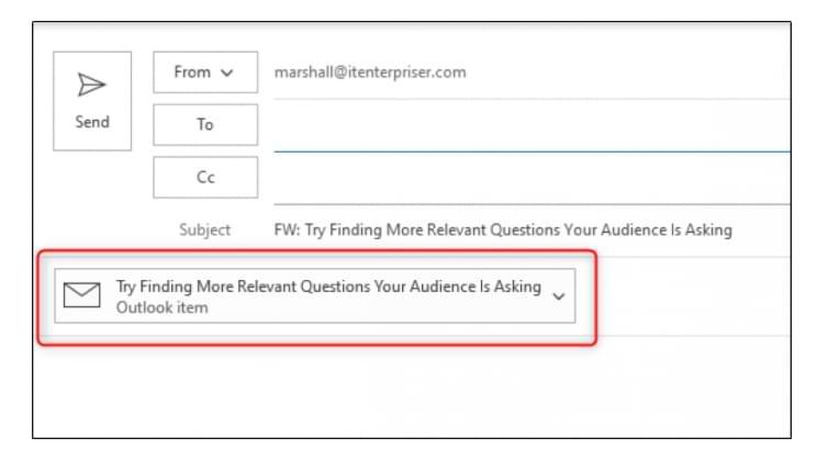 Cómo reenviar correo electrónico como 'archivo adjunto' en Microsoft Outlook