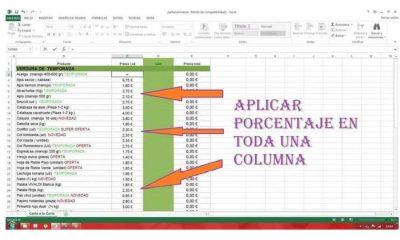 Cómo sacar un porcentaje en Excel de varias celdas - Formulas sencillas
