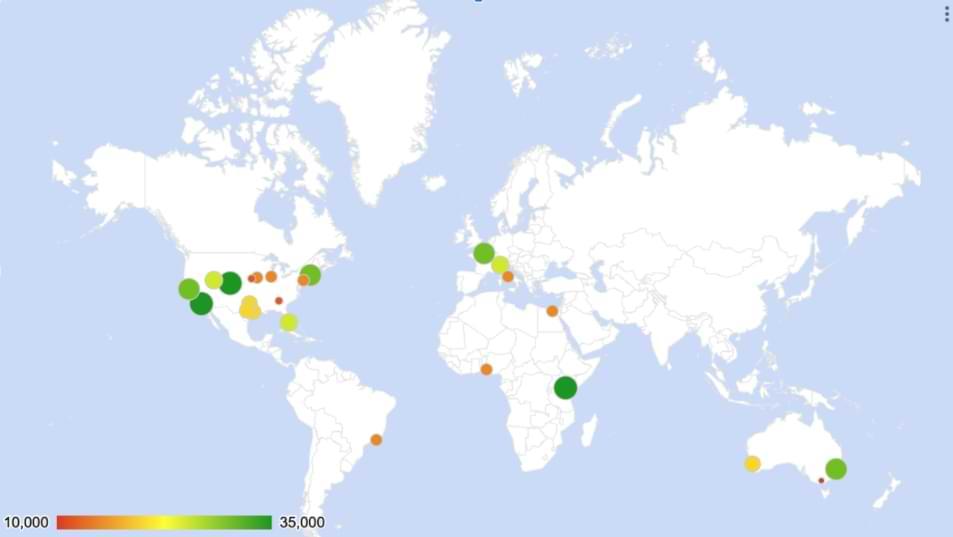 Cómo crear un gráfico de mapas geográficas en Google Sheets