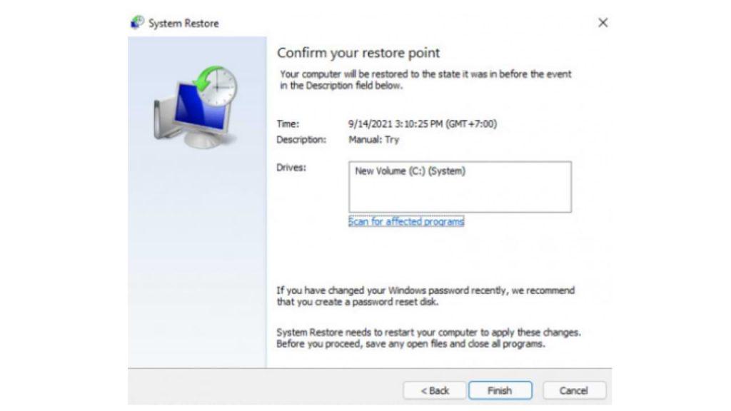 Cómo realizar la restauración del sistema en Windows 11